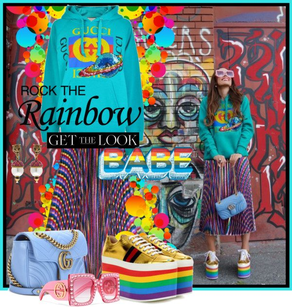 0da959c71b9 I am in love with Gucci's bold prints and kaleidoscopic color palettes.  While a real rainbow is a rare shot of magic across the sky and we cannot  rely on ...
