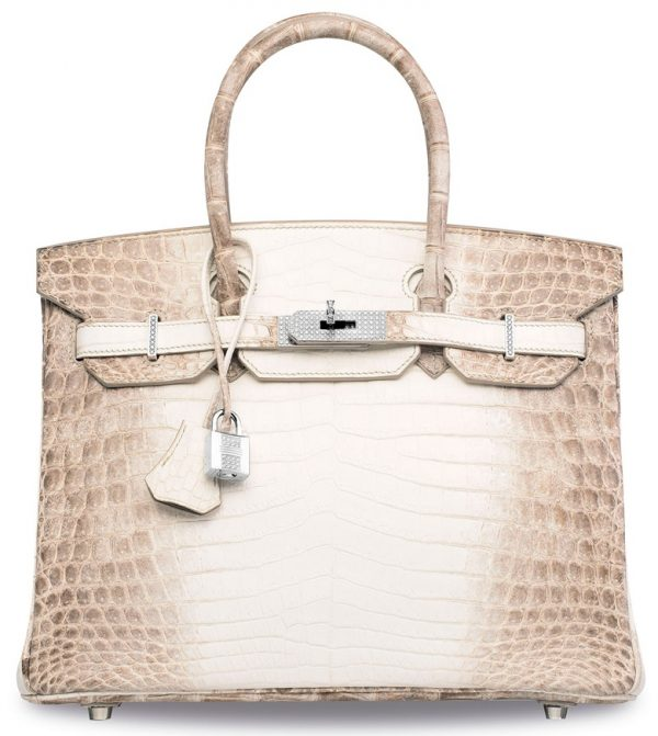 597d263f98c3 Object of desire  A rare exceptional Matte White Himalaya Niloticus  Crocodile Birkin 30 with 18k white gold diamond-encrusted hardware.