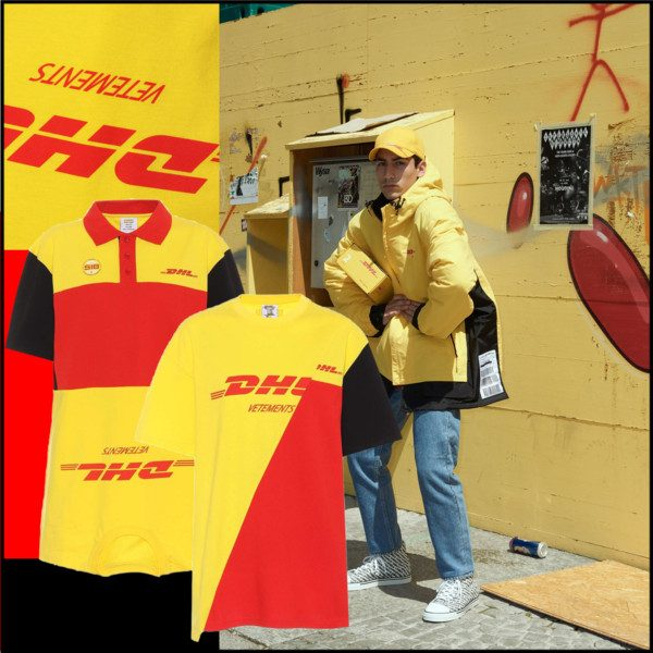 744ff2a2f9bb Vetements x DHL, from left to right: DHL printed cotton shirt dress and DHL  printed cotton T-shirt.