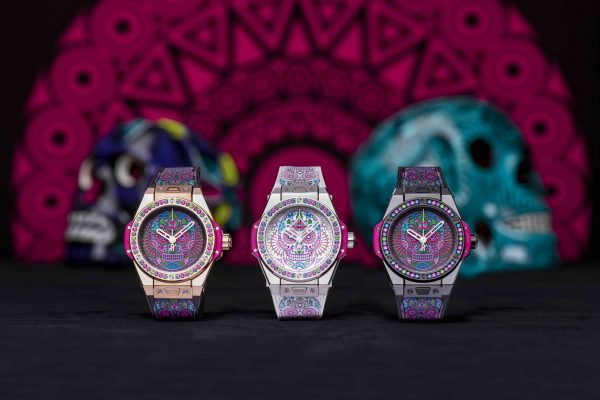 77129555dd71 ... engraved with coloured lacquer. The colourful and elegant dresses are  conveyed through the straps with stitched multi-coloured skulls and the  bezel ...