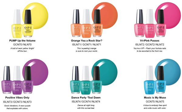 8159981aafcd The Neons by OPI will be available in GelColor, Infinite Shine (CHF 24.90)  and Nail Lacquer (CHF 19.90) formulas. PUMP Up the Volume (yellow) and  Music is ...